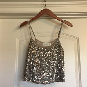 Abercrombie & Fitch sequin flowy crop top